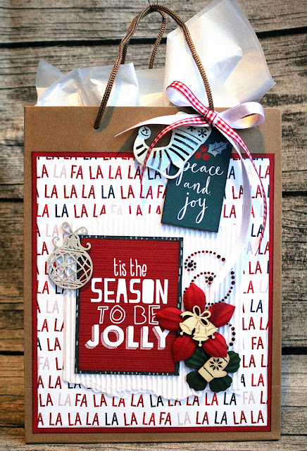 Christmas Gift Bag Alter by Ulrika Wandler using BoBunny Fa La La collection