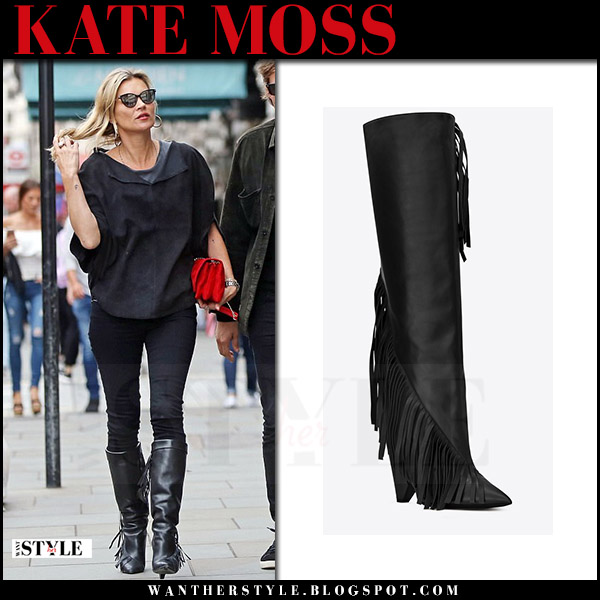 Kate Moss in black leather fringed boots with red suede boots saint laurent niki want her style july 21 2017