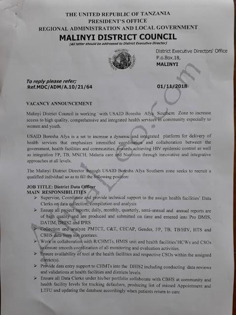 Job vacancy District Data Officer – Malinyi District (Morogoro)