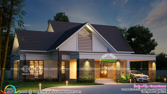 2490 square feet 3 BHK Sloping roof home