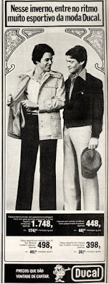propaganda  Lojas Ducal anos 70; roupa masculina anos 70; moda anos 70; propaganda anos 70; história da década de 70; reclames anos 70; brazil in the 70s; Oswaldo Hernandez