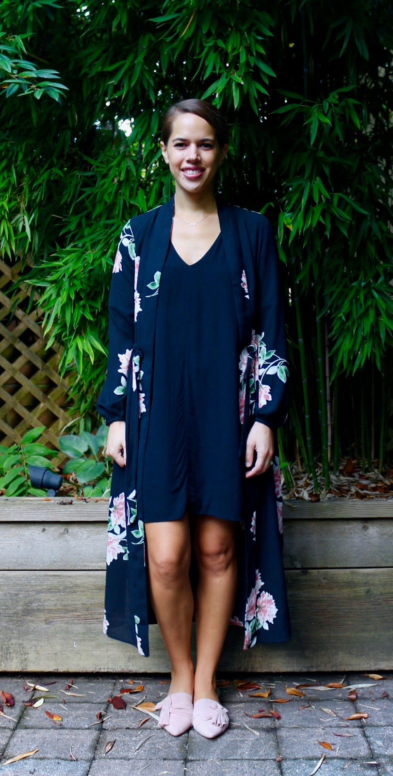 Jules in Flats - Maxi Kimono with Dress (Business Casual Fall Workwear on a Budget)