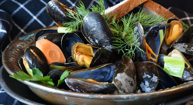 Plate of Cooked Mussels and Seafood