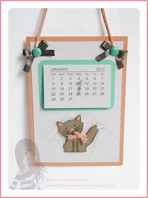 Stampin' Up! rosa Mädchen Kulmbach: Kalender mit Fuchsstanze und Designerpapier Eisfantasie
