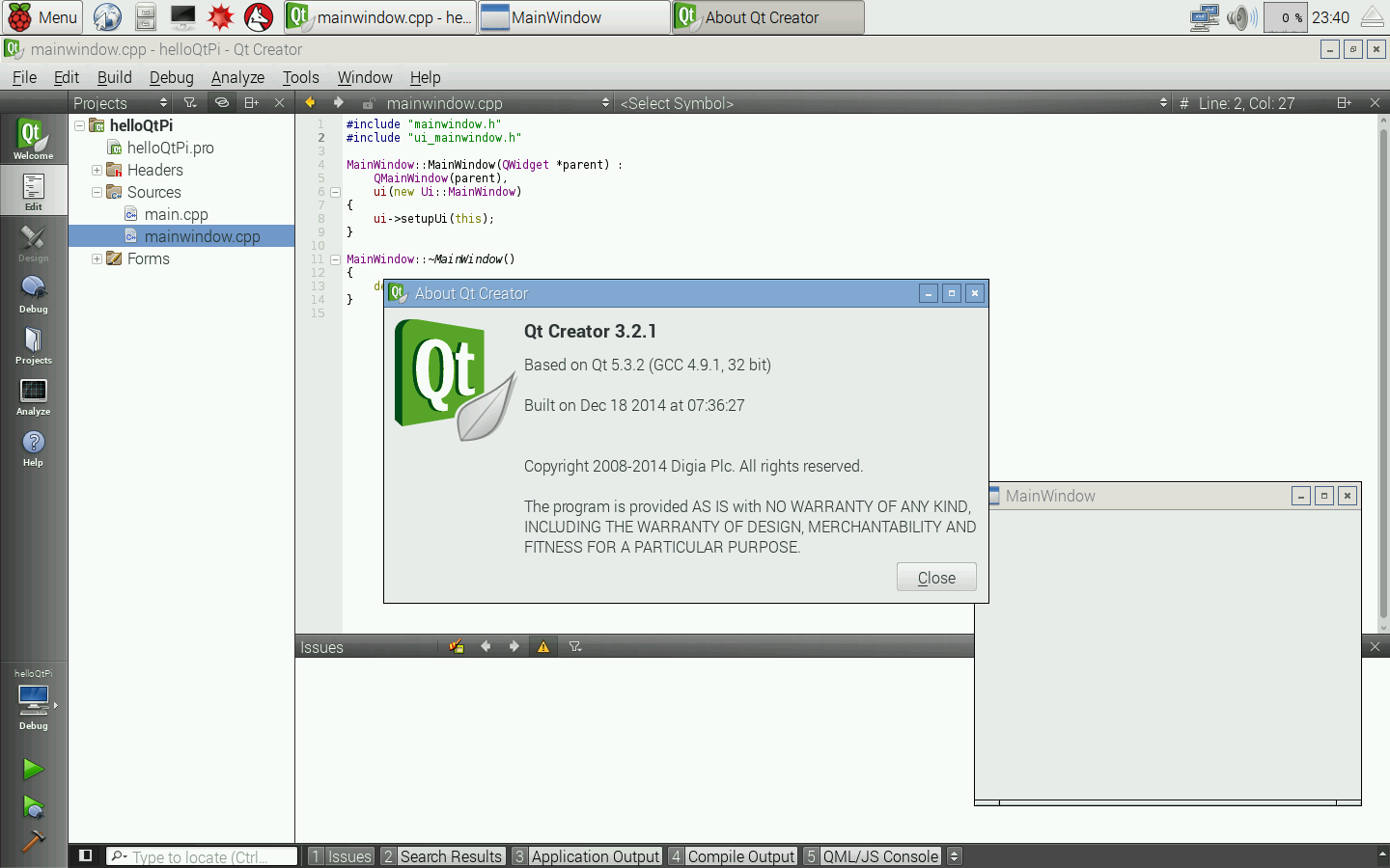 Hello Raspberry Pi: Install Qt5/Qt Creator for Raspberry Pi 2