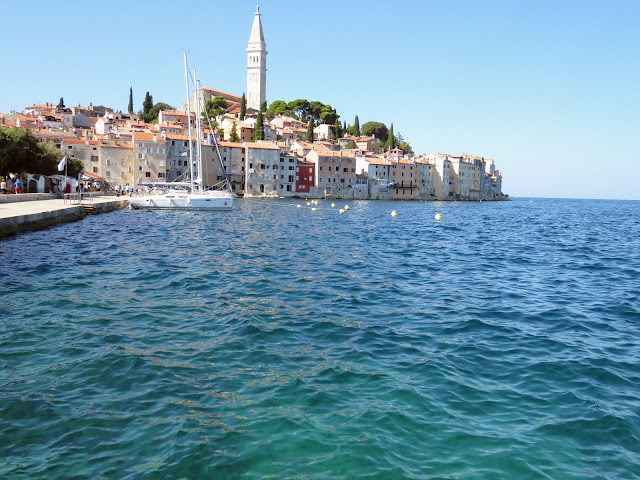 Views of Rovinj Old Town across the water
