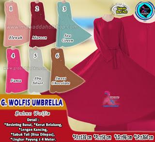 Gamis wolfis polos model umbrella harga paling murah