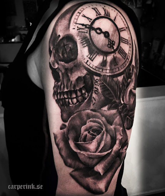 Skull, Flower & Clock Tattoo For Men