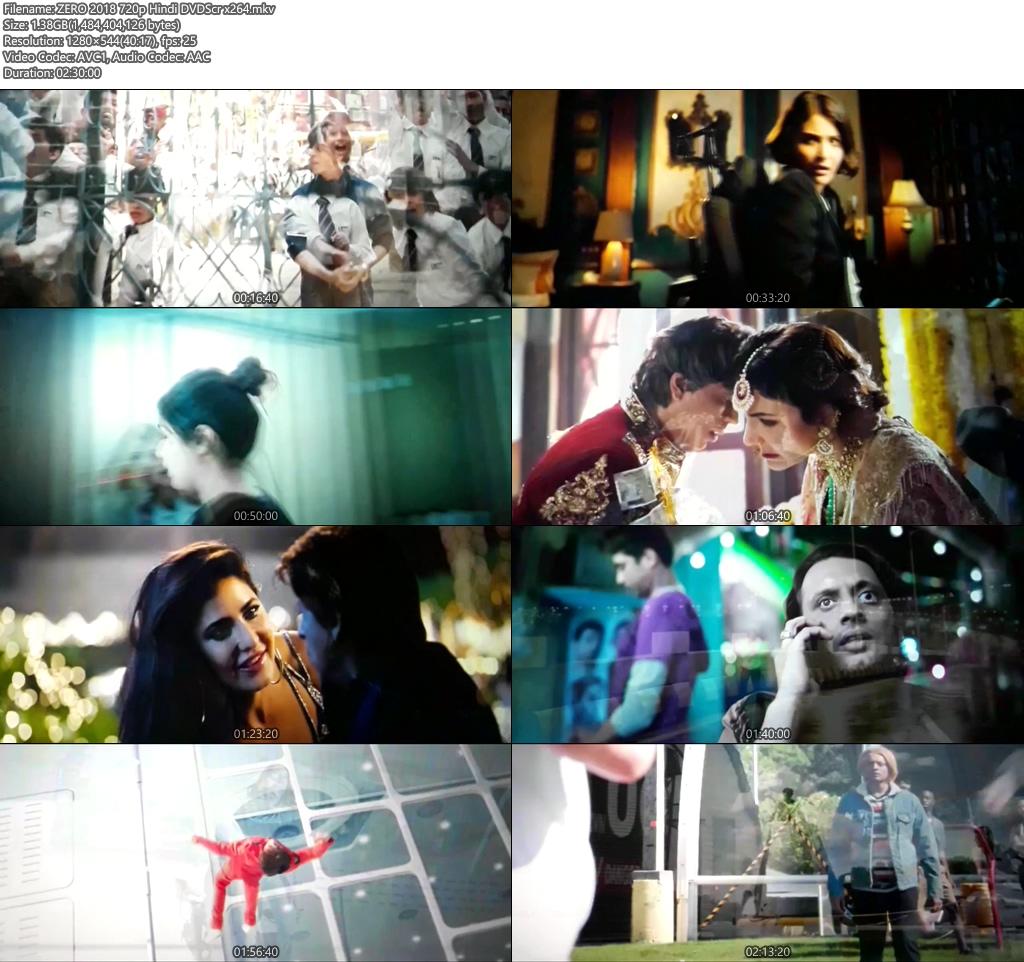 ZERO 2018 720p Hindi DVDScr x264   480p 300MB   100MB HEVC Screenshot