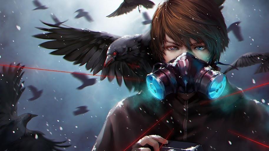 Anime, Gas Mask, Crow, 4K, 3840x2160, #47