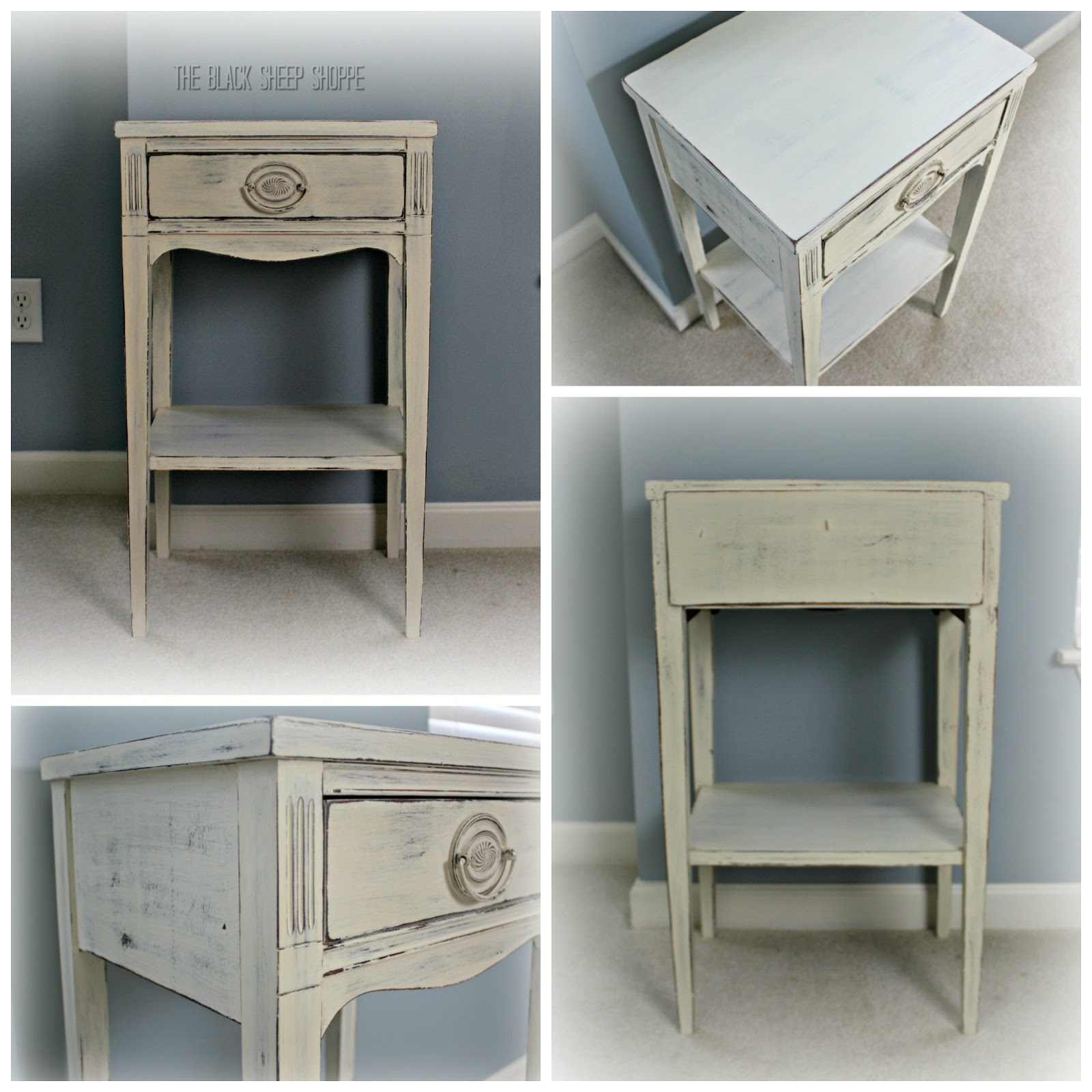 Federal style nightstand with Hepplewhite drawer pull in shabby chic finish