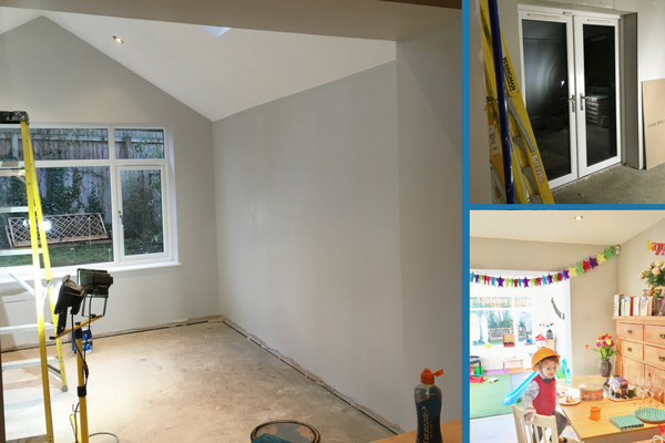 playroom extension plastered and painted