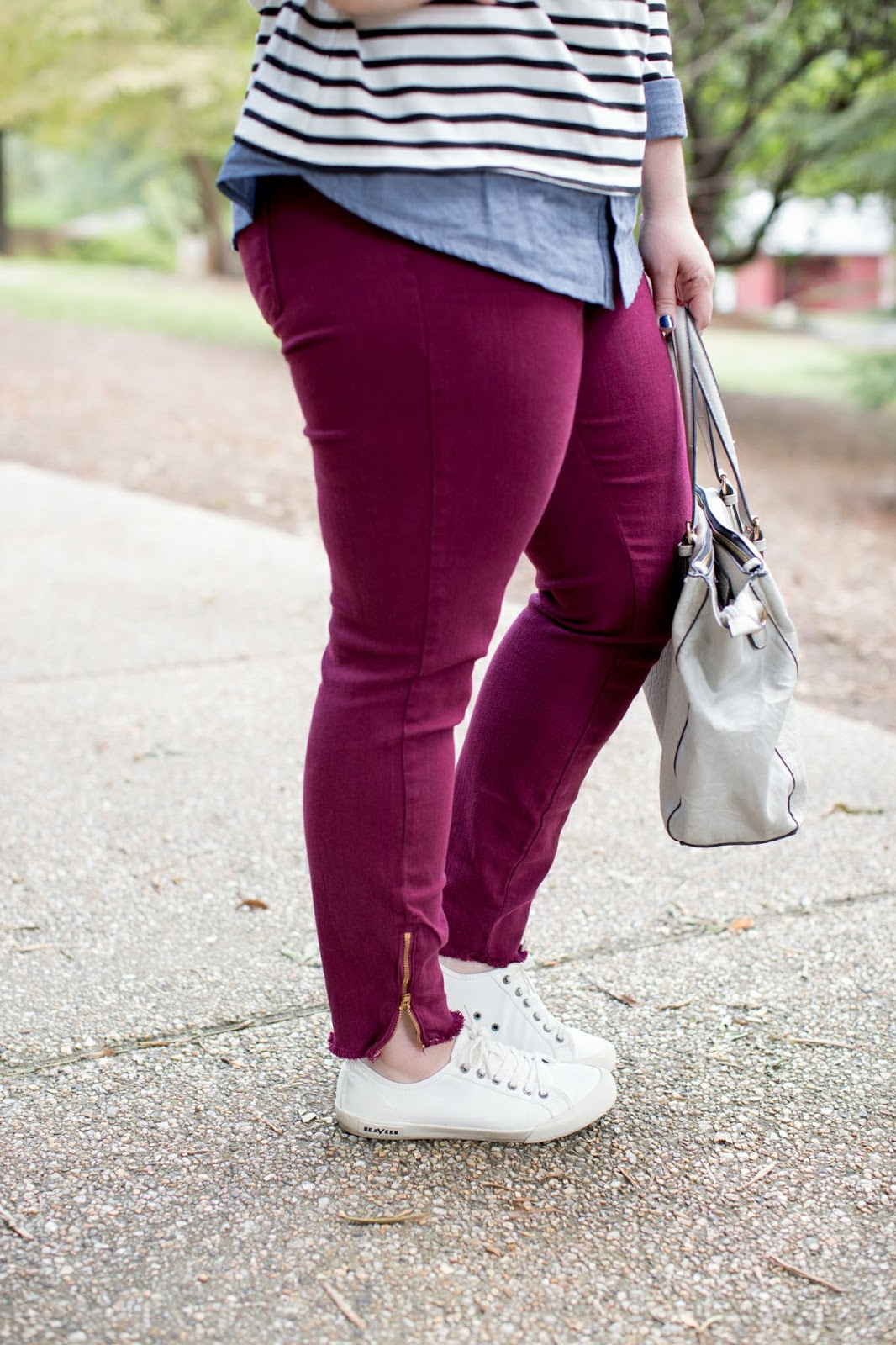 Rebecca Lately Fall Outfit Stripes Chambray Maroon Jeans