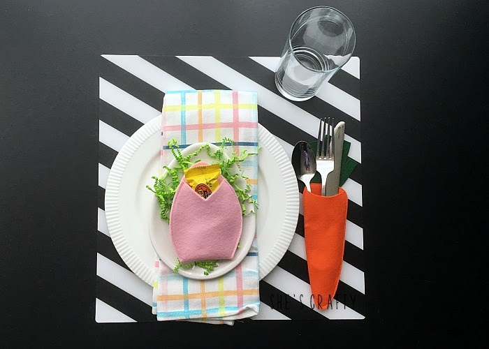 Use felt to make an Easter treat and flatware holder