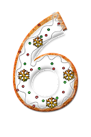 Number six graphic, decorated with icing and snowflakes