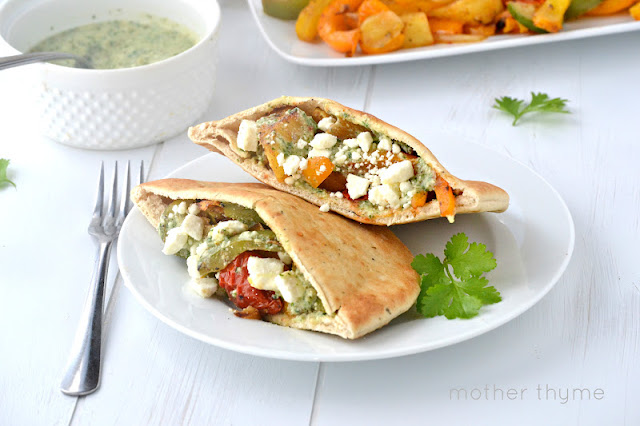 Grilled Vegetable Pitas with Cilantro-Lime Pesto | www.motherthyme.com