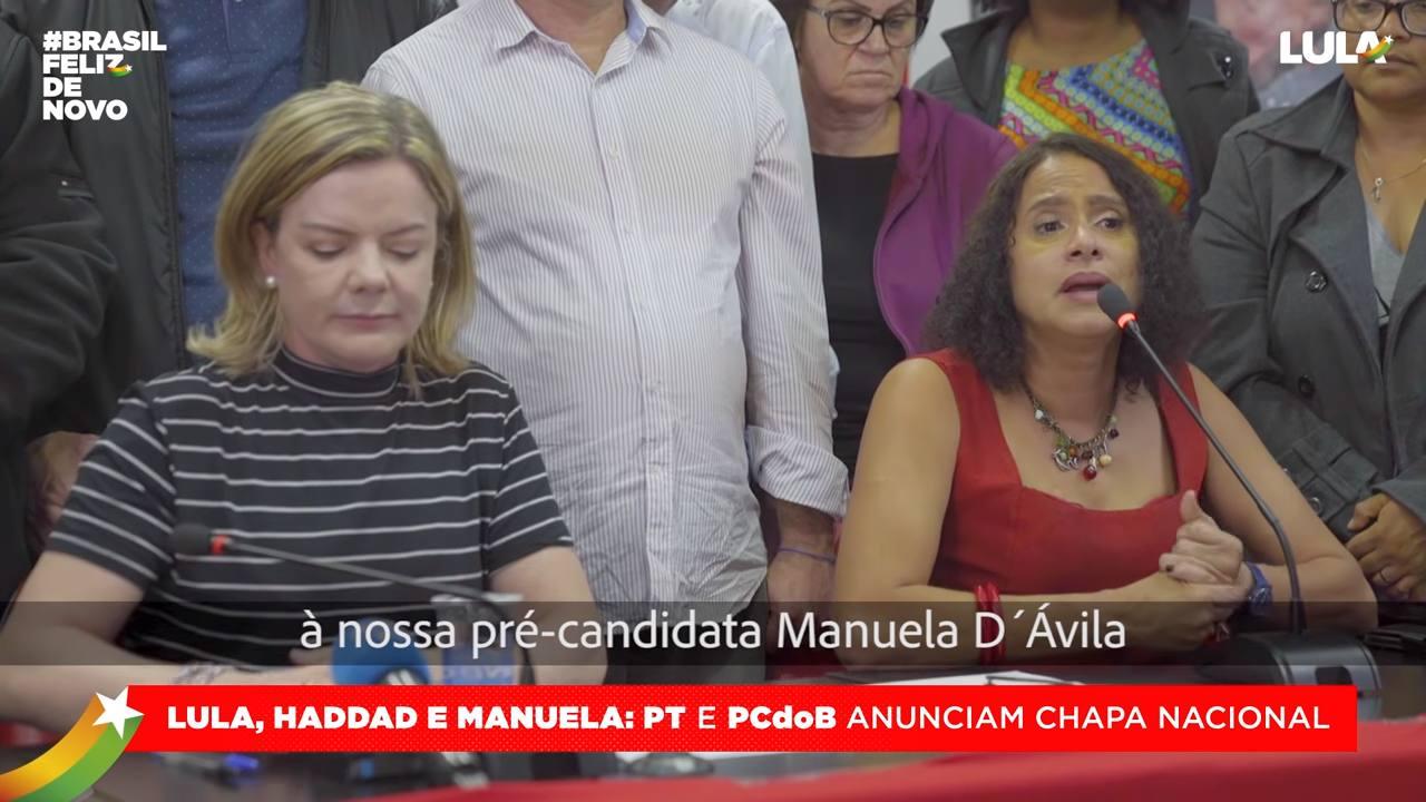 Haddad e Manuela formam a nova chapa do PT às eleições