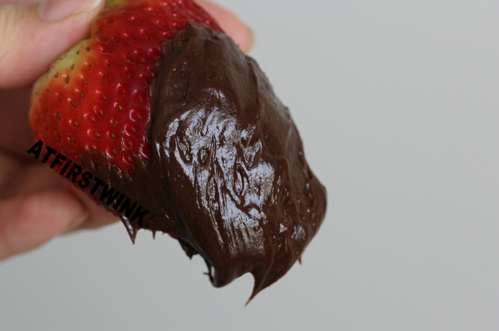 giant strawberry dipped in melted chocolate