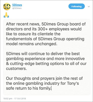 5Dimes Statement About The Kidnapping Of Tony