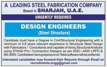 URGENTLY REQUIRED FOR A LEADING STEEL FABRICATION COMPANY
