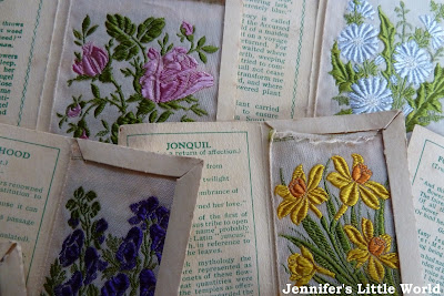 Vintage embroidered silk flower cards from Kensitas