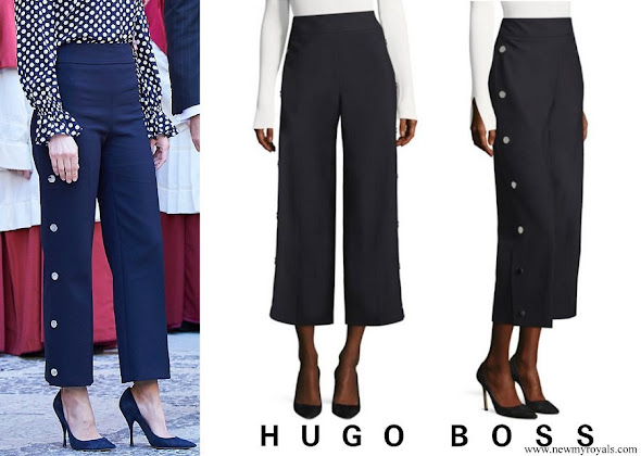 Queen Letizia wore BOSS High Waist Wide Leg Pants
