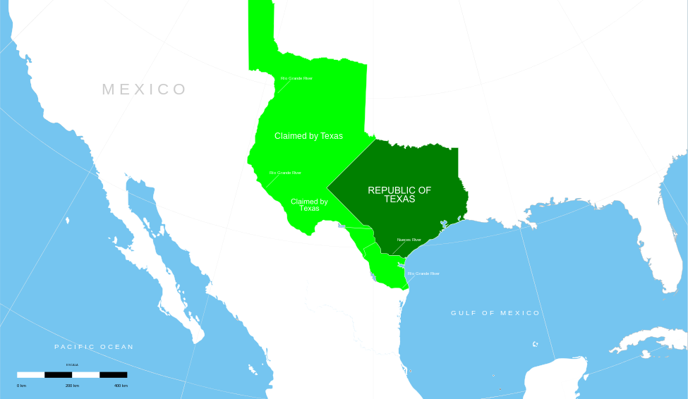 Texas 1836-1845: Dark green area is Republic of Texas. Light green area is territory claimed by both Texas and Mexico.