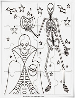 Halloween Vampire And Bones Puzzle Coloring Sheet