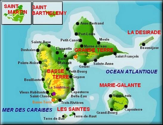 Carte de l'archipel de Guadeloupe : Basse-Terre, Grande-Terre, Marie-Galante, Désirade, Les Saintes ( Terre de Haut et Terre de Bas)