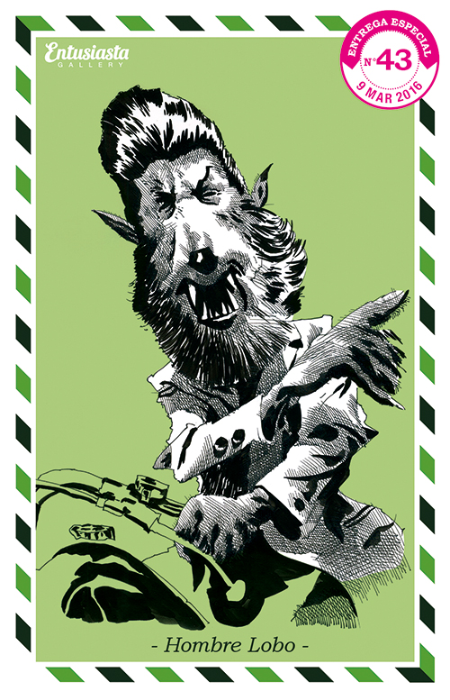 An illustrated postcard with an ink fine art caricature of a wolfman riding a motorbike giving directions.