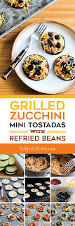 Grilled Zucchini Mini-Tostadas with Refried Beans [found on KalynsKitchen.com]