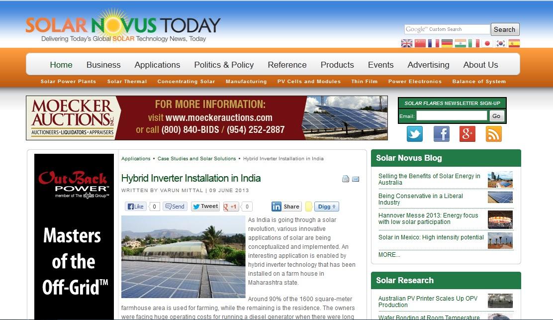 Solar Hybrid Installation In India