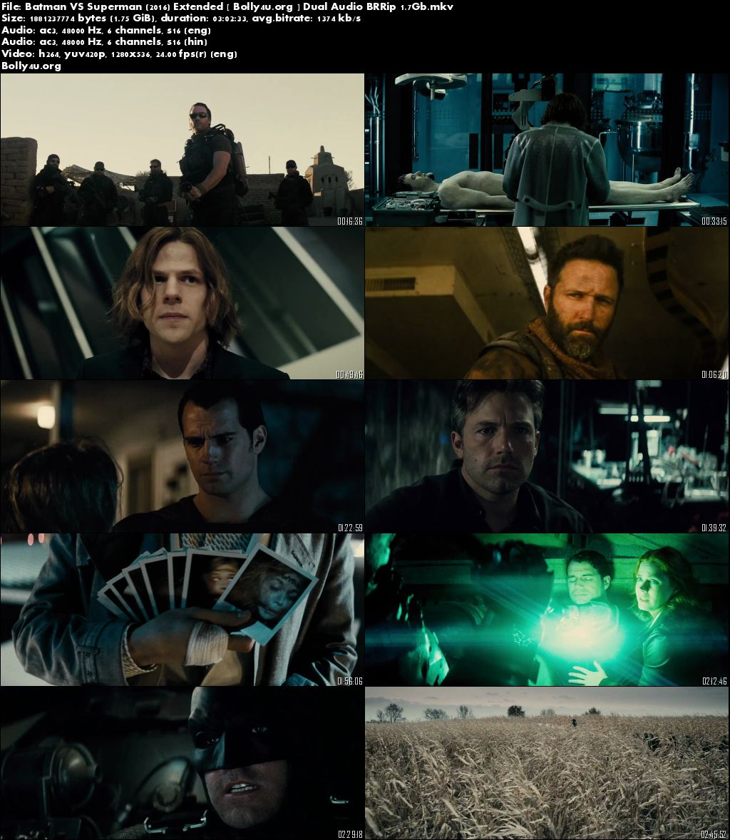 Batman VS Superman 2016 BRRip 450MB 480p Dual Audio Extended Download