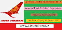 Air India Limited Recruitment 2017– 85 Assistant Supervisor