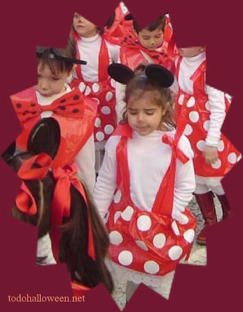 Disfraz de Minnie Mouse hecho con bolsa de basura