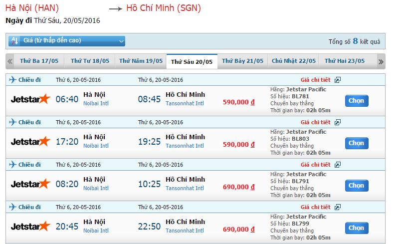 vé máy bay từ Hà Nội đi Sài Gòn của jetstar