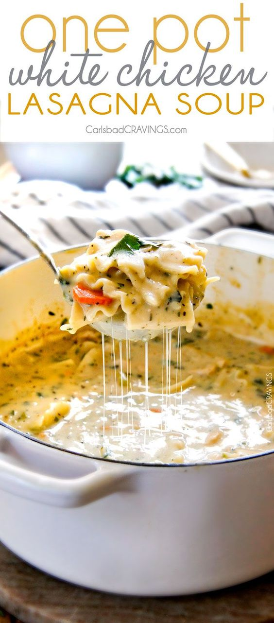 ONE POT WHITE CHICKEN LASAGNA SOUP #onepot #whitechicken #chicken #chickenrecipes #lasagan #lasagnasoup #soup #souprecipes #healthysoup #easysouprecipes