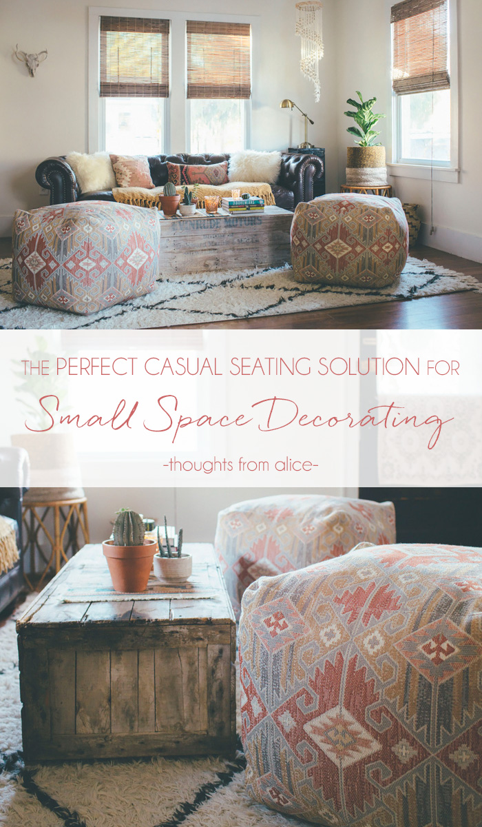 The perfect casual seating solution for small space decorating for Living room seating for small spaces