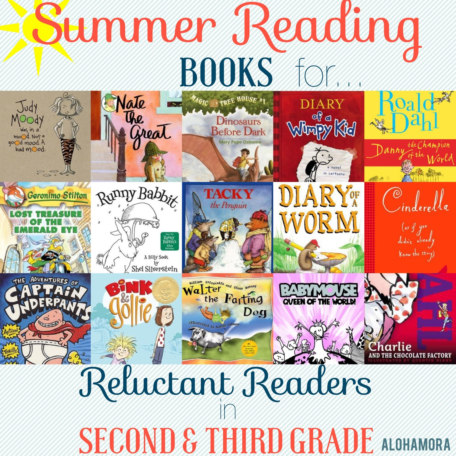 A Summer Reading Book List for Reluctant Readers aka Kids Who Don't Like to Read in Second (2nd) and Third (3rd) Grade.  These books are great for boys, and girls, and make great read alouds for parents, teachers, grandparents, etc. Humorous/funny books. Mystery, realistic fiction, picture books, graphic novels, illustrated novels, etc. Alohamora Open a Book http://www.alohamoraopenabook.blogspot.com/