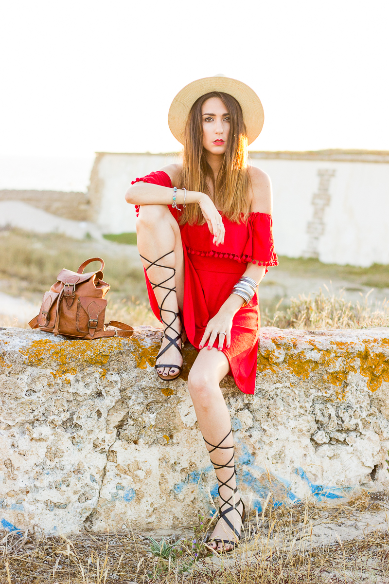 boho chic red dress