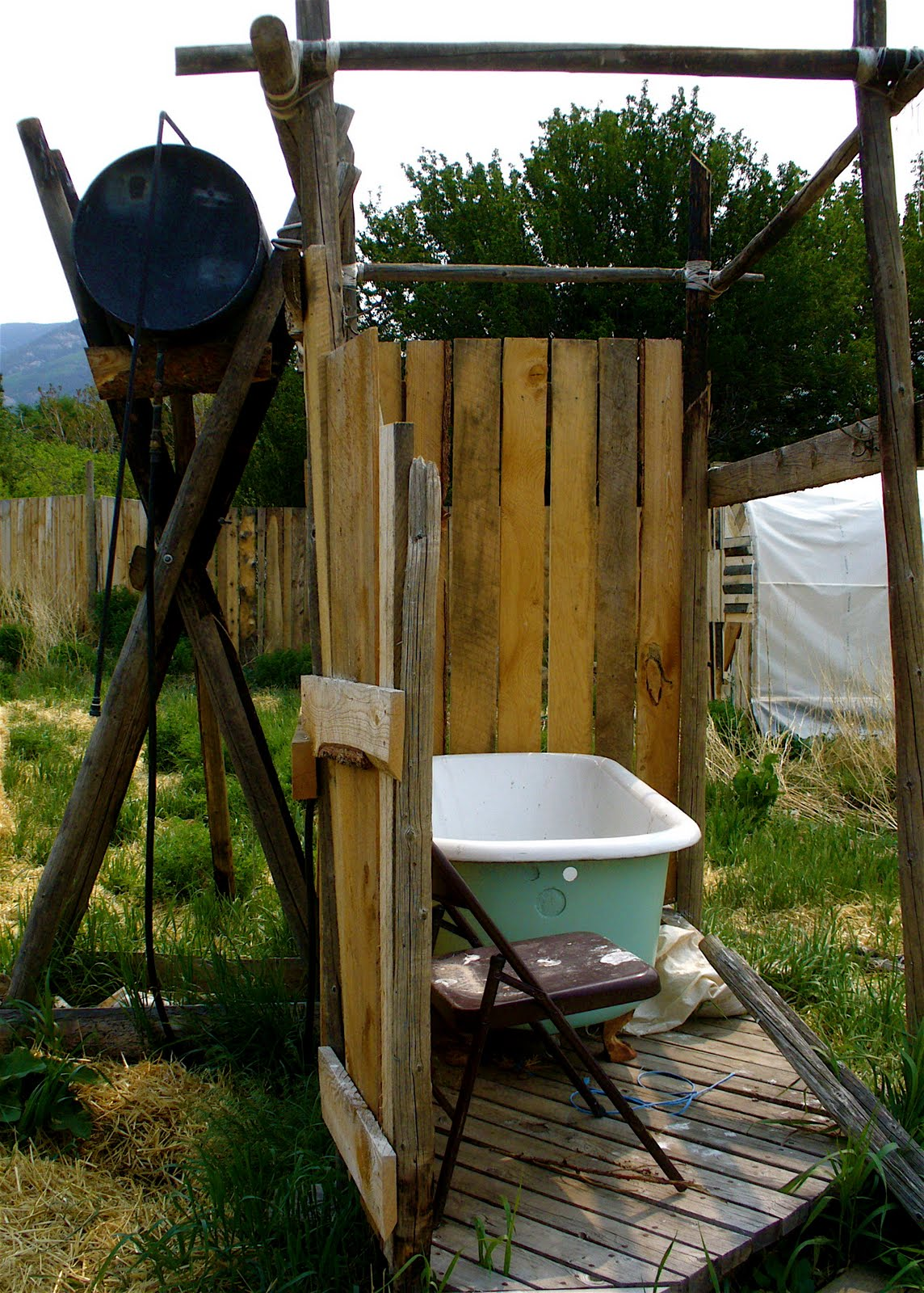 Make An Outdoor Shower Alt Build Blog Hoop Houses And An Outdoor Shower In