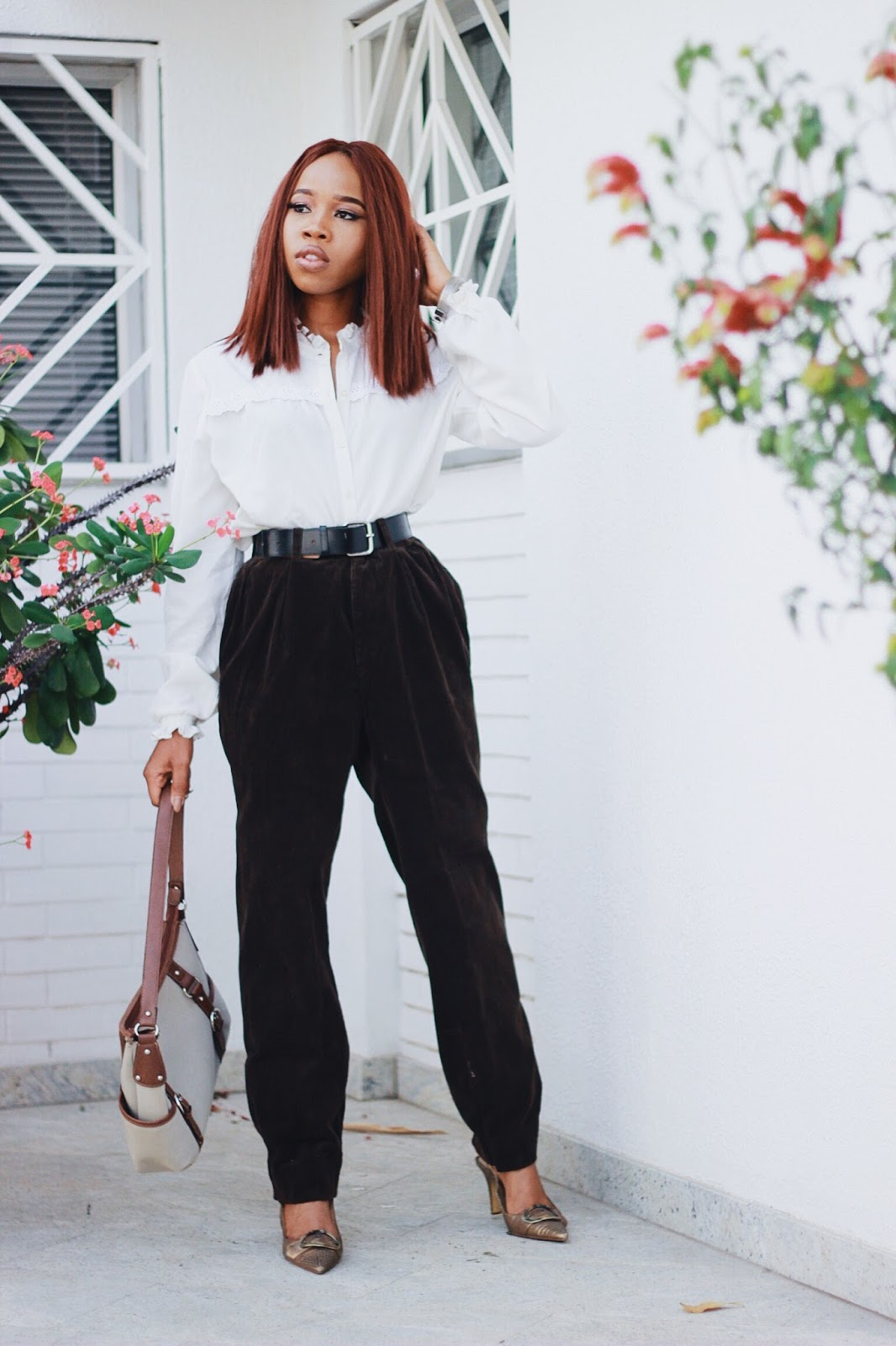 White Shirt with Vintage velvet trousers