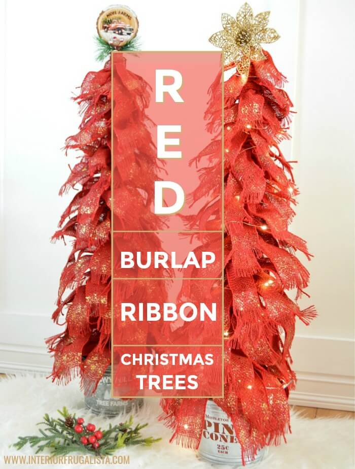 Red Burlap Ribbon Tabletop Christmas Trees That Sparkle