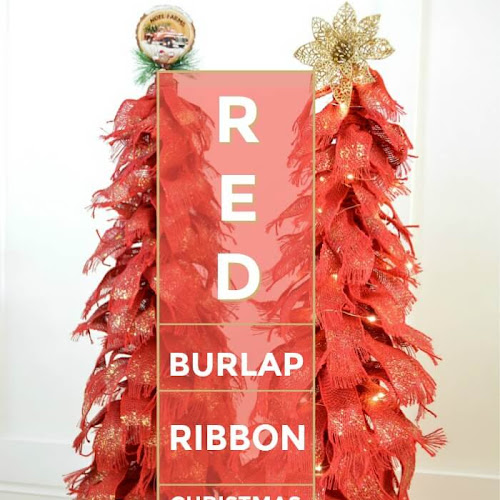 Sparkly Red Burlap Tabletop Christmas Trees
