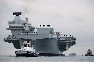 HMS Queen Elizabeth aircraft carrier arrived in Portsmouth, UK