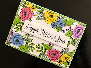 Stamped and Coloured Happy Mothers Day Card