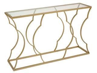 mueble recibidor acero cristal acabado oro