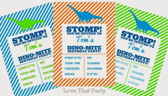 Dinosaur Stomp Dino Party Printable Invitations by Love That Party available in blue, green and orange. www.lovethatparty.com.au