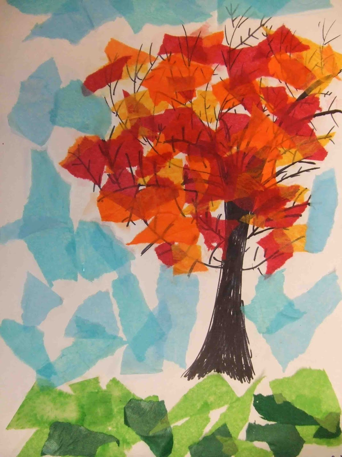 Poppycat News Tissue Paper Collage Fall Trees 4th Grade