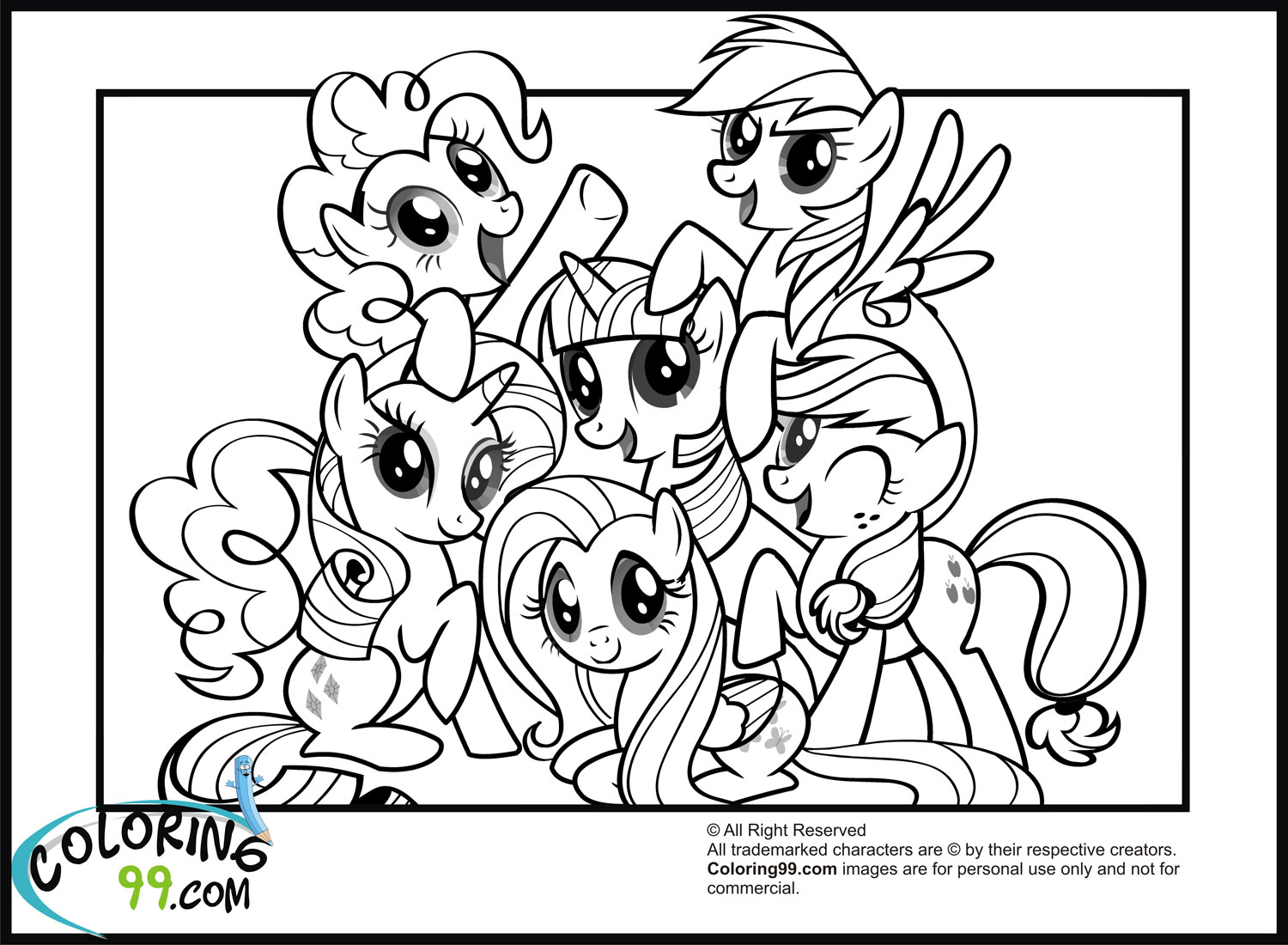 My little pony coloring pages friendship is magic team for My little pony print out coloring pages